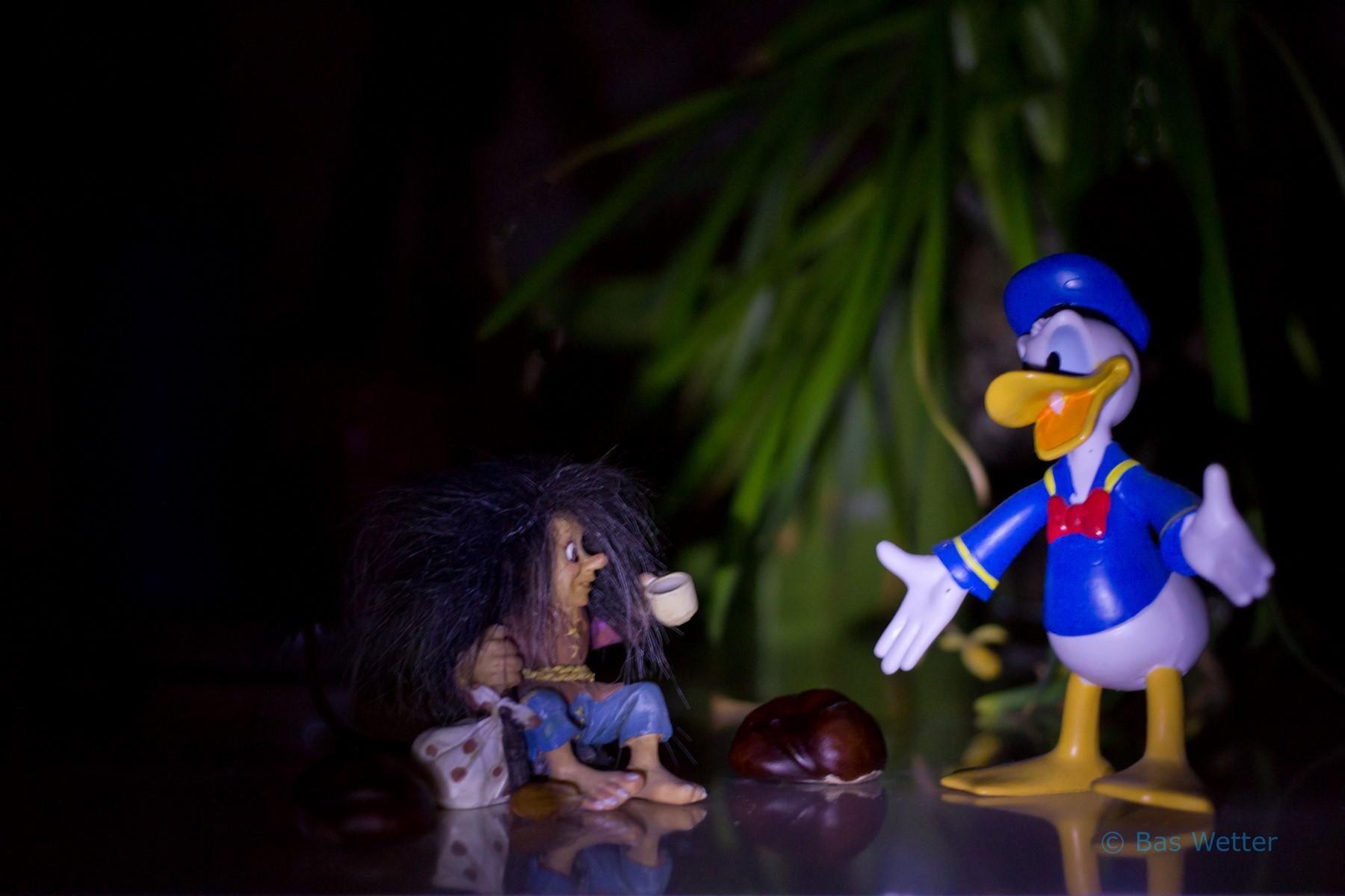 Donald en een Noorse Trol ontmoeten elkaar in het donker